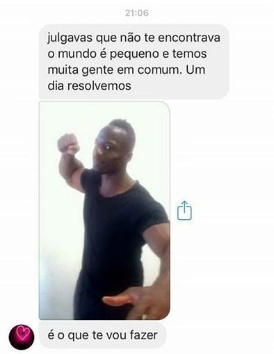 Mensagem com foto que Abdulay Camará enviou a guarda, ameaçando-o