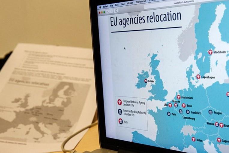 Mapa de instituições que serão relocalizadas com o Brexit