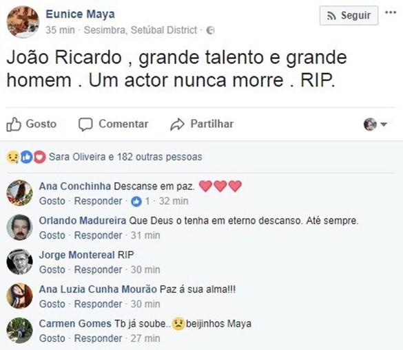 Maya deixou mensagem de tristeza pela morte de João Ricardo