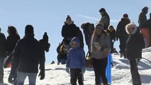Centenas rumam à Serra da Estrela mesmo com pouca neve
