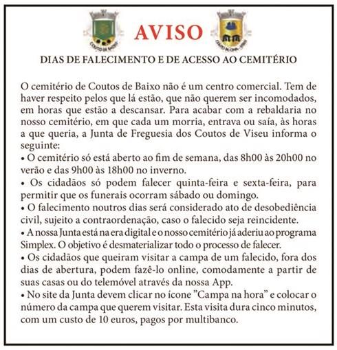 'Anúncio' publicado na página de humor do 'Jornal do Centro' ironiza o facto