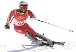 Arthur Hanse em ação  na prova de esqui  alpino realizada ontem