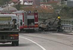 Condutora morre carbonizada em acidente no IC8, em Pombal