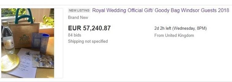 Convidados do casamento real vendem brindes na internet