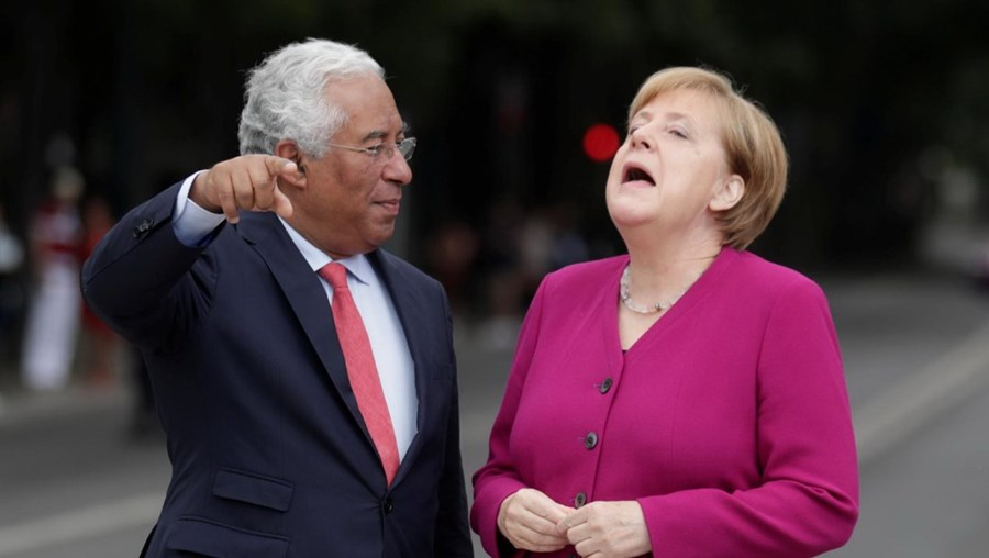 Ângela Merkel e António Costa no encontro oficial em Portugal