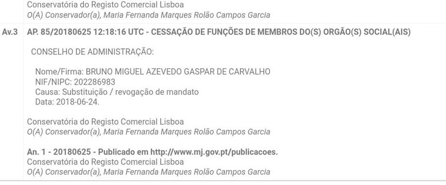 Documento que prova que Bruno de Carvalho já não representa a SAD leonina