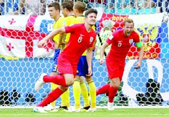 Maguire, o 6 da Inglaterra, marcou, de cabeça, o primeiro golo do jogo de ontem em Samara, na Rússia