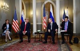 Donald Trump e Vladimir Putin reunidos em Helsínquia