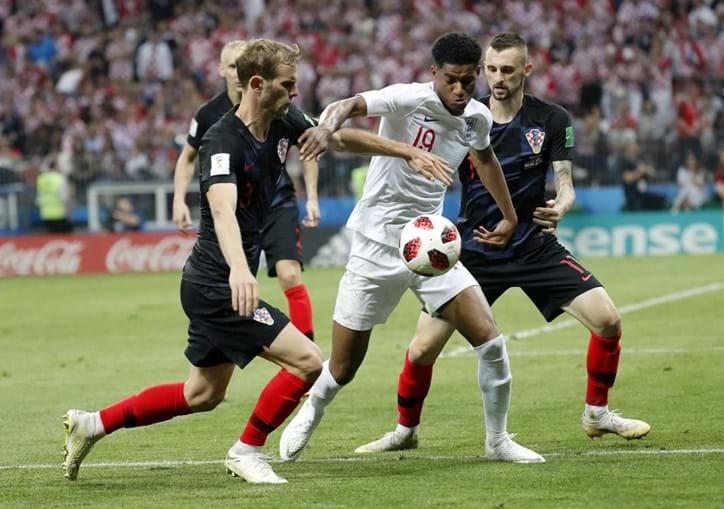 Jogo entre a Croácia e a Inglaterra das meias-finais do Mundial