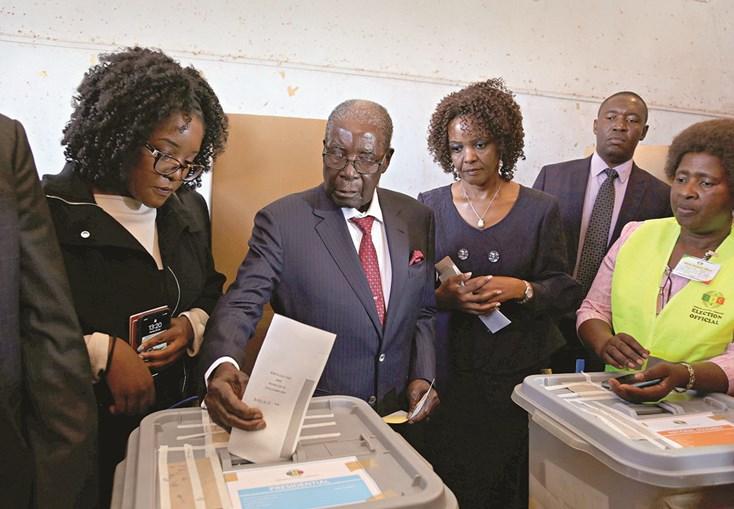 Mugabe foi votar