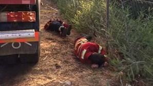 Imagens mostram exaustão dos bombeiros no combate aos fogos