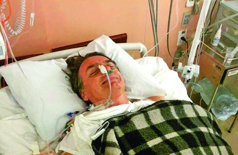 Bolsonaro na cama do hospital de Juiz de Fora