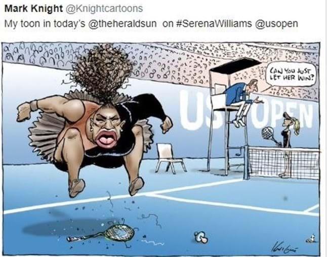 Serena Williams em cartoon polémico após desentendimento com árbitro português
