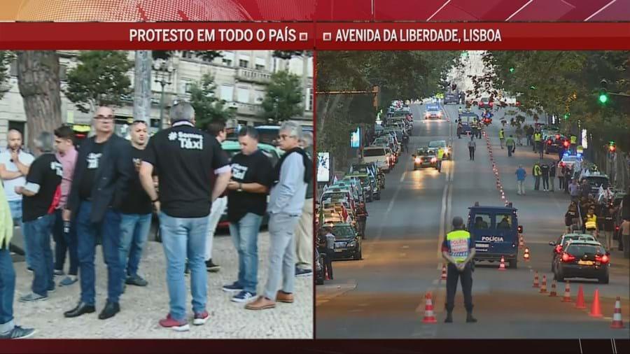 Concentração de taxistas em Lisboa