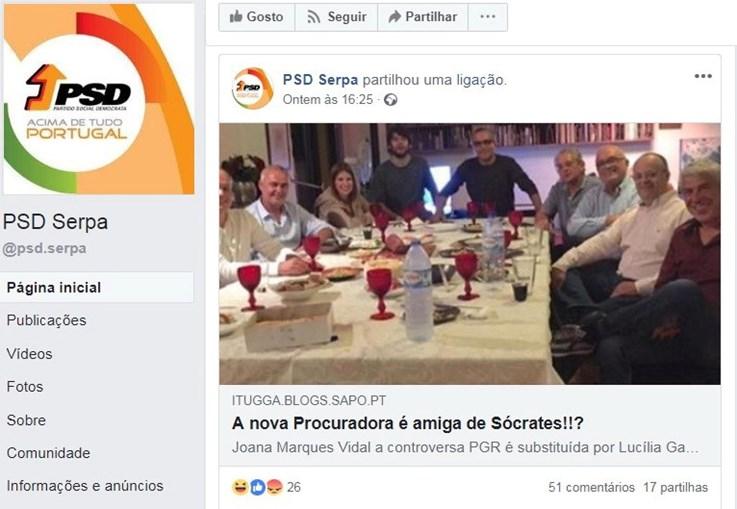 PSD de Serpa espalha rumor sobre suposta amizade entre Sócrates e a nova PGR, Lucília Gago