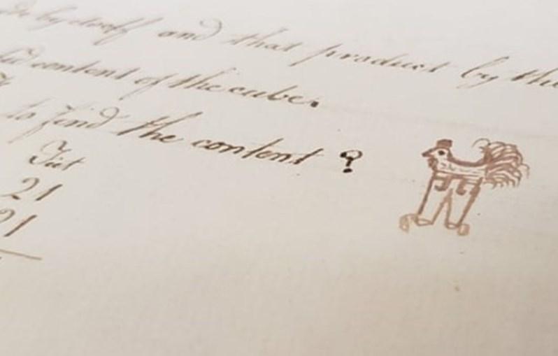 Rabiscos de Richard Beale no seu caderno, em 1784, estão em exposição