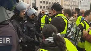 Confrontos entre polícia e 'coletes amarelos' no Marquês de Pombal em Lisboa