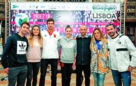 Alguns dos atletas que vão participar na corrida de hoje, em Lisboa