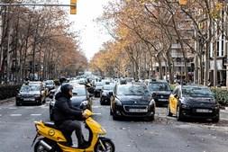 Manifestação de taxistas em Madrid