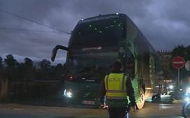 Autocarro do Sporting a caminho do Estádio do Braga para a meia-final da Taça da Liga