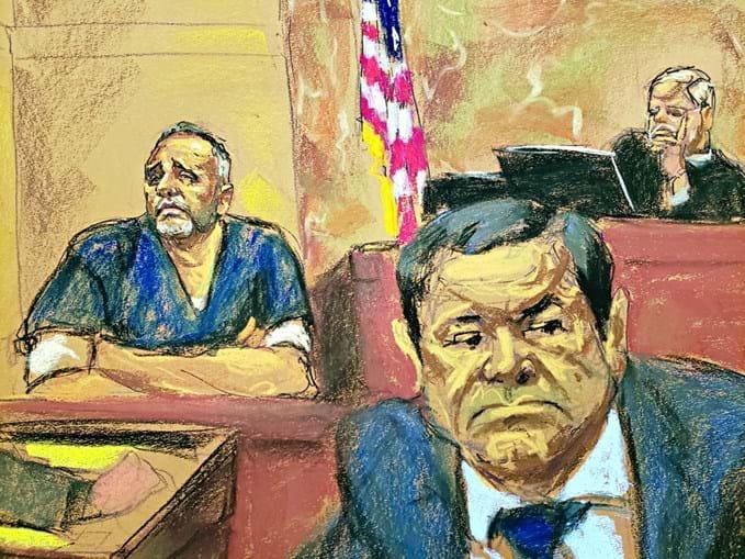 Alex Cifuentes (esq.) disse em tribunal que 'El Chapo' (à dir.) pagou 100 milhões