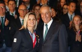 Marcelo Rebelo de Sousa e Telma Monteiro nos Jogos Olímpicos no Brasil