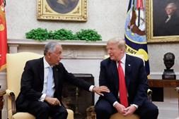 Marcelo Rebelo de Sousa durante o seu encontro com o Presidente dos Estado Unidos da América, Donald Trump