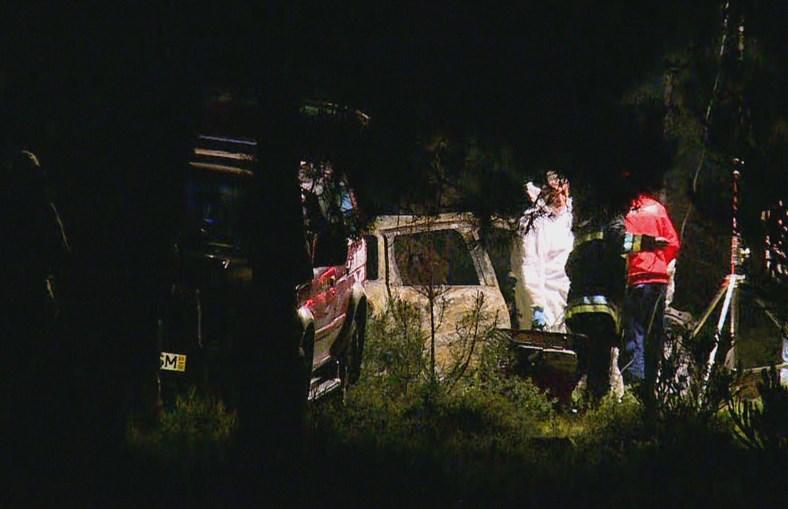 Carro onde foram encontrados os corpos de mãe e filha, em Sesimbra