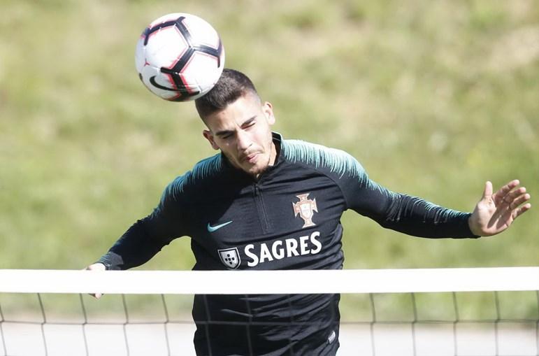 André Silva no treino da Seleção Nacional