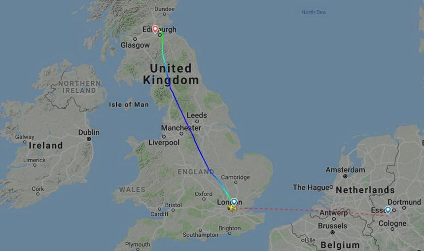 Desvio do avião que acabou por aterrar em Edimburgo por engano