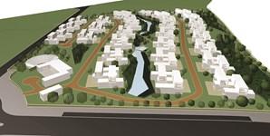 Imagem virtual do projeto do campus a criar em Évora, que contempla 114 habitações e vários serviços