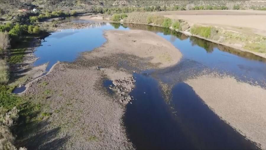 Caudal do rio Tejo transformado num pequeno fio de água