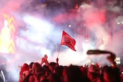 Adeptos comemoram título benfiquista em Lisboa
