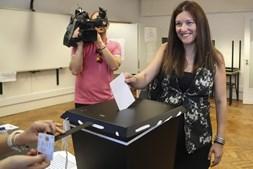Marisa Matias votou em Coimbra