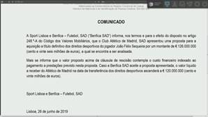 Atlético de Madrid oferece 126 milhões de euros por João Félix