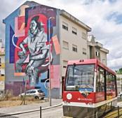 Dom Zeferino no centro histórico de Viseu do artista DRAW & CONTRA na Rua Augusto Hilário, Viseu