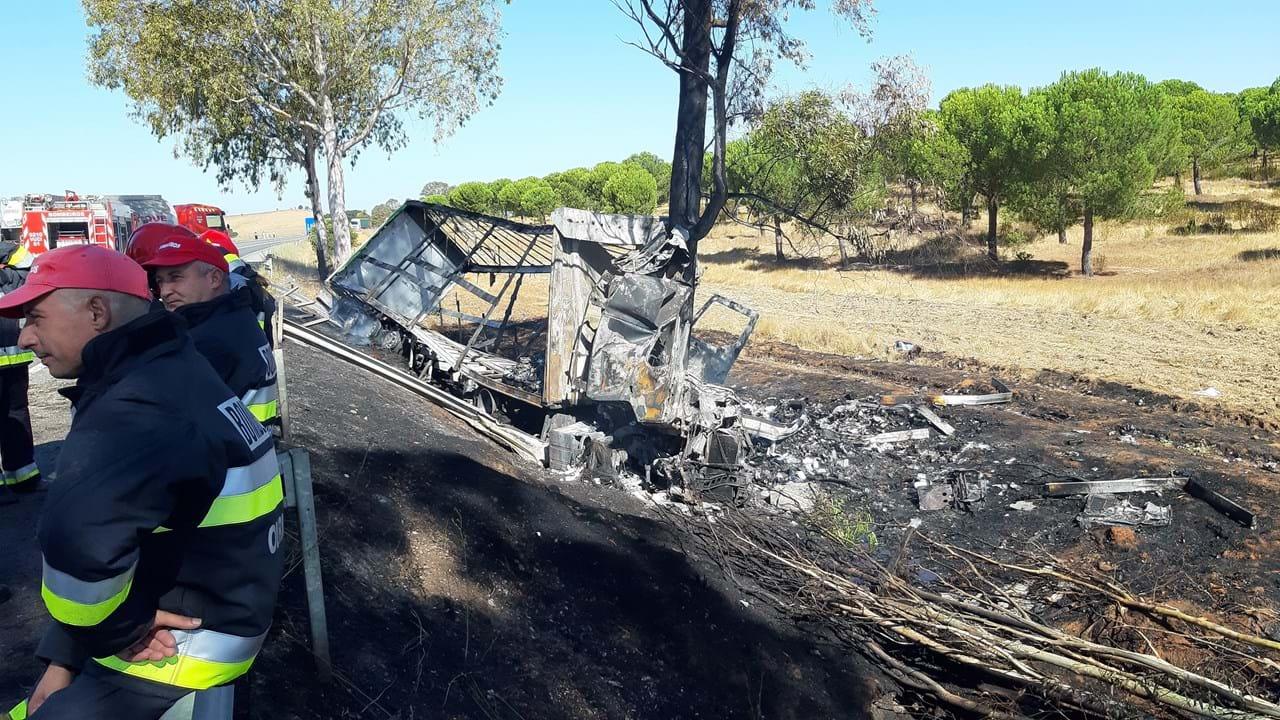 Resultado de imagen para Motorista morre carbonizado em despiste de camião no IC1 em Ourique