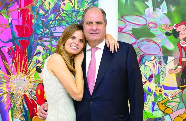 Ricardo Sáragga com a filha mais velha, Filipa, ligada às artes plásticas
