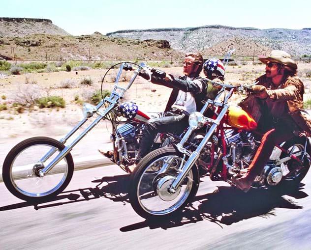 Peter Fonda com Dennis Hopper no filme 'Easy Rider', de 1968