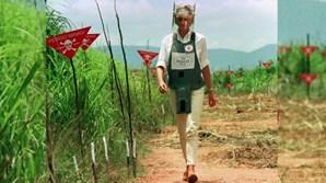 Príncipe Harry visita antigo campo de minas terrestres percorrido pela Princesa Diana