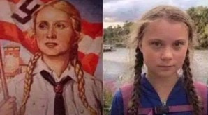 Ativista Greta Thunberg comparada com rapariga ariana em cartaz de propaganda nazi