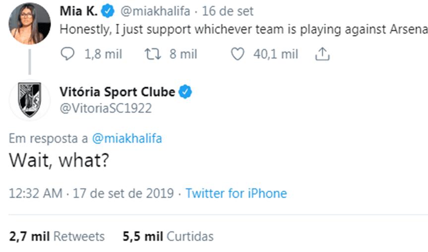 Atriz porno diz que apoia qualquer equipa que jogue contra o Arsenal e Vitória de Guimarães candidata-se