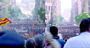 Milhares de pessoas desfilaram em Barcelona de forma pacífica para contestar, pelo quarto dia seguido, a sentença que condenou nove líderes separatistas a penas de cadeia
