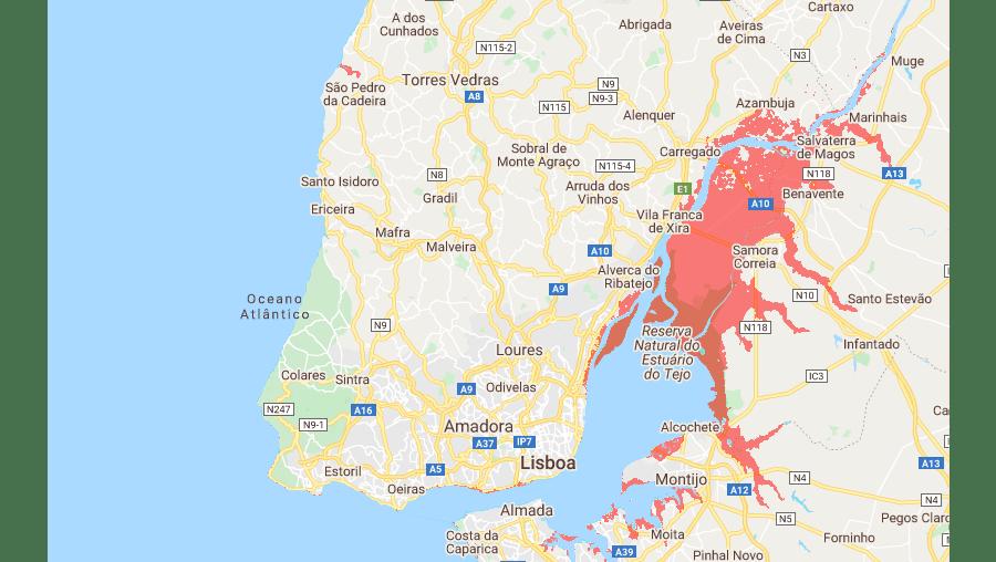 Conheça as regiões de Portugal em risco com a subida do nível das águas