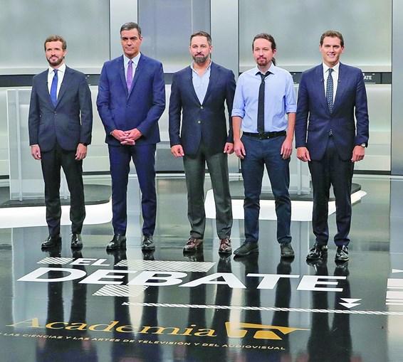 Pablo Casado, Pedro Sánchez, Santiago Abascal, Pablo Iglesias e Albert Rivera no debate de segunda-feira