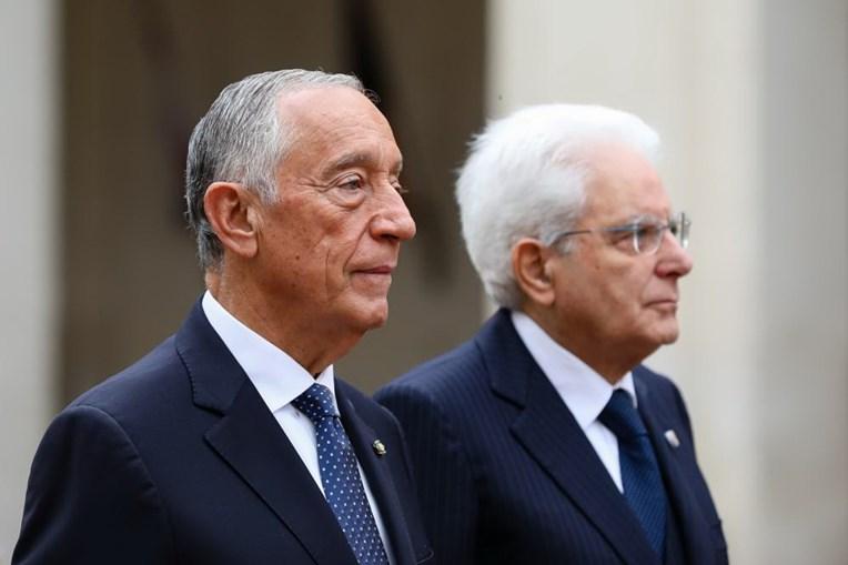 O Presidente da República Marcelo Rebelo de Sousa, ladeado pelo Presidente da República de Itália, Sergio Mattarella
