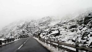 Estradas da serra da Estrela reabrem ao trânsito e turistas aproveitam brincadeiras na neve