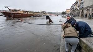 Rio Douro galga margens nas zonas ribeirinhas do Porto e Gaia. Veja as imagens