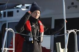 Ativista Greta Thuberg na viagem de barco até Lisboa