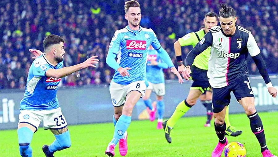 Cristiano Ronaldo no jogo entre a Juve e Nápoles